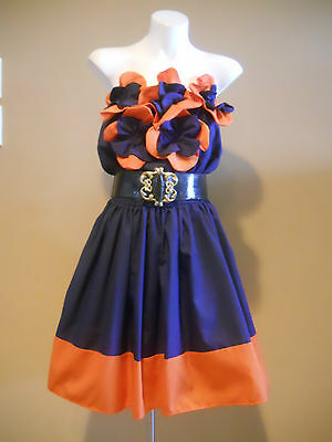 VINTAGE HARAH ORANGE & NAVY DRESS COTTON BLEND KNEE LENGTH ONE SHOULDER