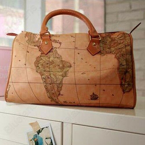 Womens World Map Print Boston Travel Travelling Weekend Duffle Shoulder Bag Tote