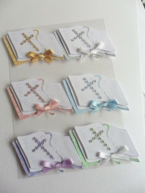 6 x lovely Bible Embellishments ideal for Wedding/Christening or Holy Communion