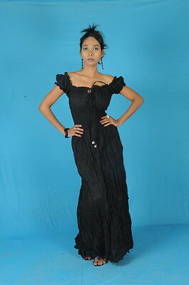 Black COTTON PEASANT SUN LONG MAXI BOHO HIPPIE GYPSY CASUAL Beach DRESS S M L