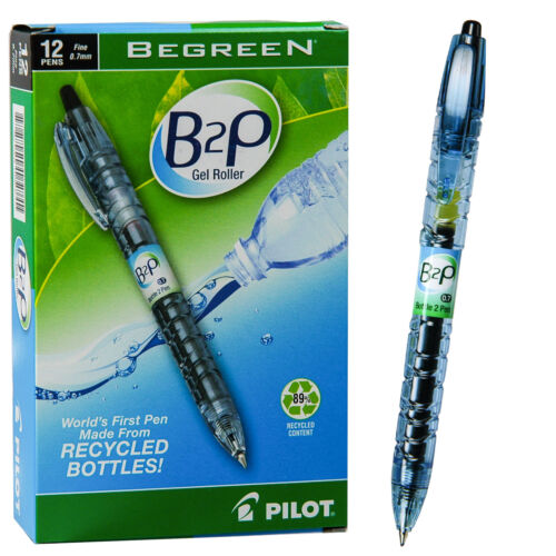 Pilot B2P Black Gel Ink 0.7mm Rollerball Pen 89/% Recycled Content Box of 12