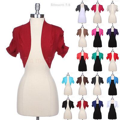 Plain Shirred Ruched Short Sleeve Cotton Bolero Top Crop Shrug Jacket Cardigan