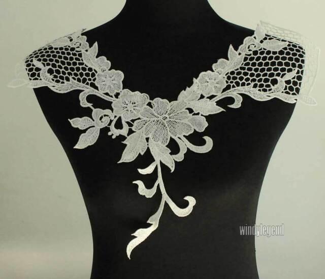 1 X NECK COLLAR DRESS COSTUME OFF WHITE VENISE LACE TRIMS APPLIQUE 17.3''X13''