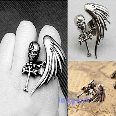 Fashion Vintage Punk Rock Gothic Cool Skull Wing Cross Adjustable Finger Ring