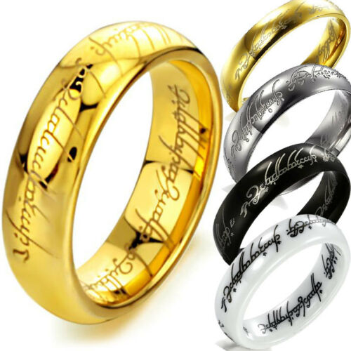The Lord of the Ring Band Tungsten Ceramic Stainless Steel Size White Gold Black