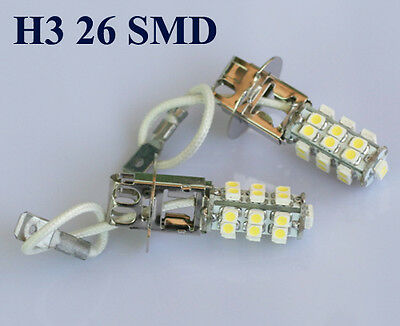 4pcs Car H3 26 SMD 3528 LED Super White Headlight Bulb Light Lamp 12V 6000K
