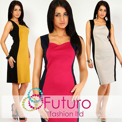 Optically Slimming Effect Women's Dress Square Neck Sleeveless Size 6-18 FK02