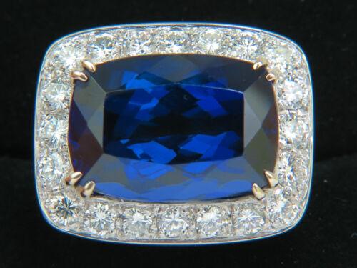 █$52000 18KT GIA 22.95CT NATURAL TANZANITE DIAMOND RING 18KT CUSTOM MOUNT█