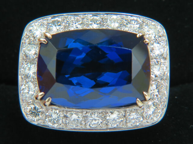█$52000 18KT GIA 22.95CT NATURAL TANZANITE DIAMOND RING 18KT CUSTOM MOUNT█