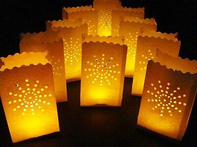 20 White Sunburst Paper Bag Lanterns Luminaries Tea Light Luminary Party lights