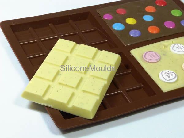 4 Bar MEDIUM Chocolate Mould (70g) Professional Silicone Rectangular Bar Mold