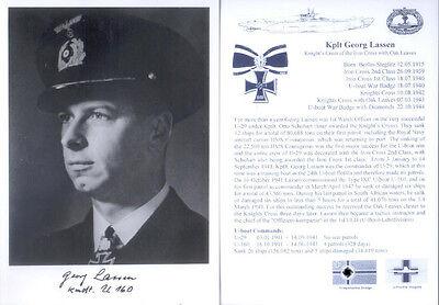 UB7 WWII WW2 Knights Cross U-boat Captain LASSEN KC hand signed photograph