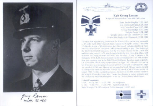 UB7 WWII WW2 Knights Cross U-boat Captain LASSEN KC hand signed photograph