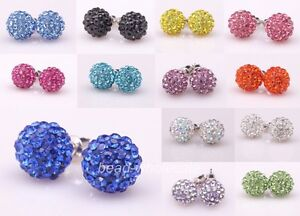 Shining-Crystal-Paved-Disco-Ball-Beads-Studs-Earrings-10mm-Pick-Colors-New