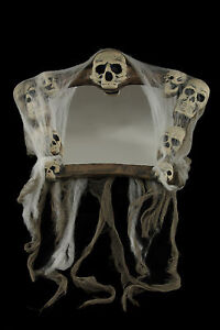Gothic-Haunted-House-SKULL-WARPED-FUNHOUSE-MIRROR-Halloween-Prop-Wall-Decoration