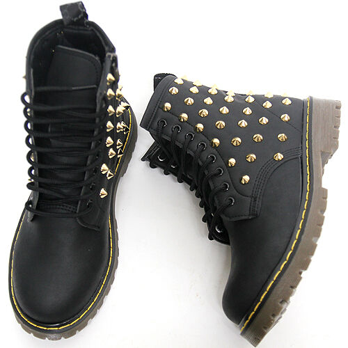Womens Black Gold Studded High Top Zip Combat Boots / Ladies Military Shoes