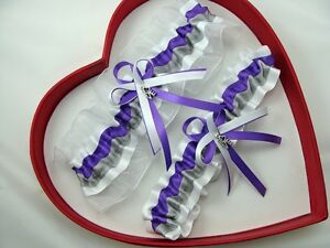 Image Is Loading NEW Purple Silver White Wedding Prom Garter SELECT