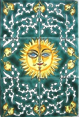 DECORATIVE CERAMIC TILES: MOSAIC PANEL HAND PAINTED HOME BATH POOL WALL TILE