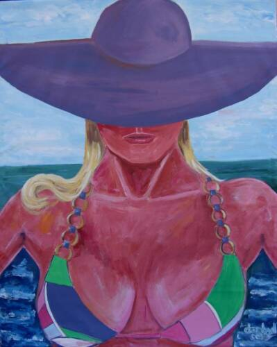 BEACH HAT Original Art PAINTING DAN BYL Modern Contemporary Huge 4x5 ft Canvas