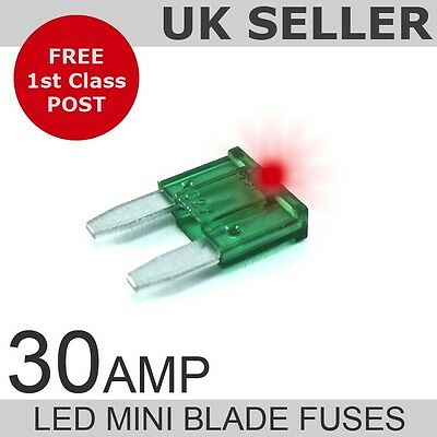 LED 30A Amp Mini Blade Fuses *Quantity 10*
