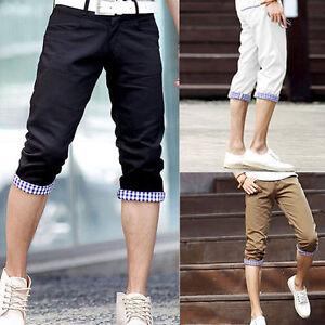 Mens Fashion Designed Casual Slim Fit Cropped Capri Pants Shorts 3 ...