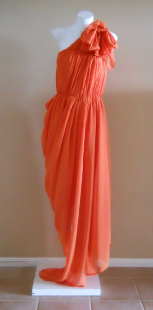 VINTAGE HARAH ORANGE CHIFFON  FULL LENGTH  DRESS ONE SHOULDER