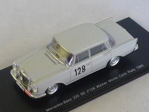 Spark S1004 MERCEDES W112 220 SE N°128 Vainqueur Monte Carlo 1960 Schock  Moll