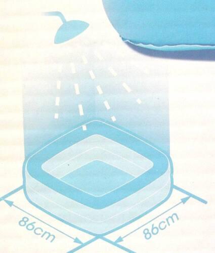 BABY PLANSCHBECKEN POOL Boden aufblasbar Dusche Badewanne 85x85 blau rosa grün