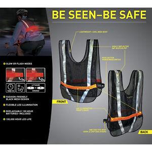 light up led reflective safety vest biking running jogging red led nite ize new. Black Bedroom Furniture Sets. Home Design Ideas