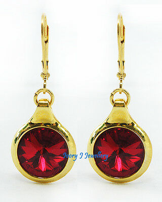 DEEP RED Swarovski Crystal Rivoli Round Dangle Earrings Bright Gold Plated IJJ