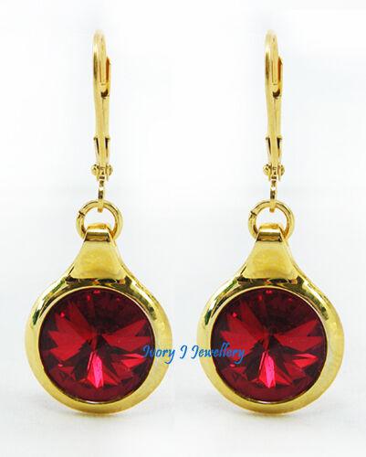 DEEP RED Swarovski Crystal Rivoli Round Dangle Earrings Bright Gold Plated IJJ