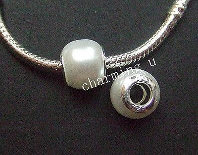3pz  perline in Acrylic  e argento12x10mm colore bianco