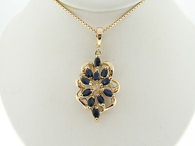 Natural Blue Sapphires Diamonds Solid 14k Yellow Gold Pendant