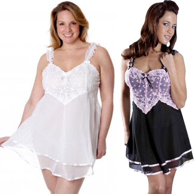 b5acbaa08d3 Plus Size Lingerie 1X thru 9X Black   Pink or White Chiffon Babydoll VX5155X
