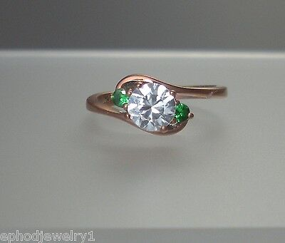 Womens Ring Size 6.5 White and Green CZ 3-Stone Pink .925 Sterling Silver