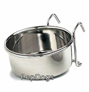 STAINLESS-STEEL-Cage-Coop-Cup-Bird-Cat-Dog-Puppy-Crate-Food-Water-Bowl-w-Hanger