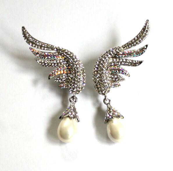 Butler and Wilson Clear AB Crystal Enamel Wing Pearl Drop Earrings NEW