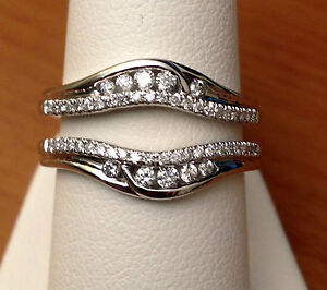 Solitaire Enhancer Round Diamonds Ring Guard Wrap 14k White Gold