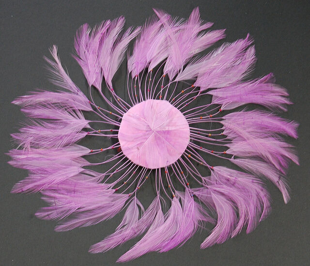 6 Pieces FULL FEATHER PINWHEELS - LILAC Hackle Feathers; Headbands/Beads/Hats