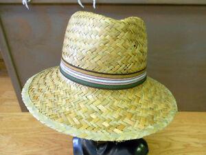 Unisex-Woven-Natural-Straw-Summer-FEDORA-Hat-Bucket-w-Green-Retro-Striped-Band