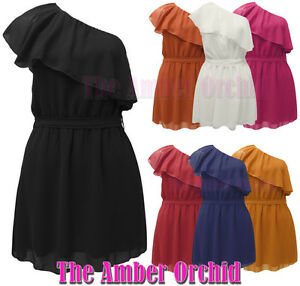 NEW-LADIES-WOMENS-CHIFFON-FRILLED-ONE-SHOULDER-RUFFLE-DRESS-SIZE-8-14