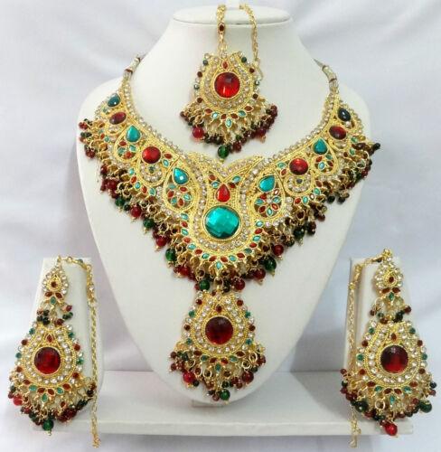 Indian Bollywood Kundan Diamante Necklace Set Fashion Costume Jewelry T9003