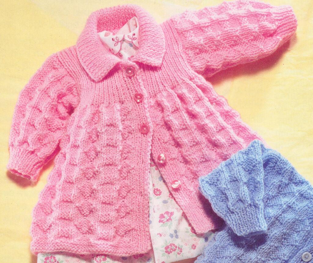 Vintage Textured Baby Matinee Coat Amp Cardigan Dk Knitting