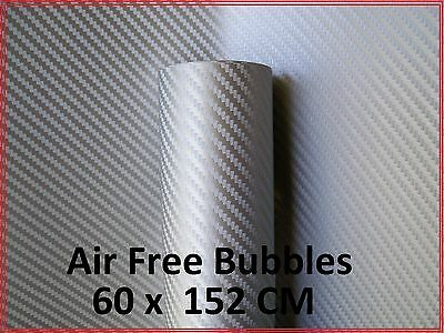 Silver Air Free Bubbles 3D Carbon Fibre Vinyl Sheet, Silver Carbon Fiber Sticker