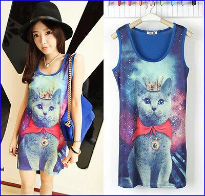 New Women Girl Crown Cat Galaxy Prince Mini Dress Long Shirt Top Tshirt Vest