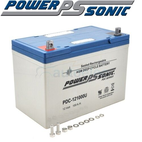 PDC121000 BATTERY 100AH AGM SLA DEEP CYCLE 12V FRIDGE DUAL 750CCA SOLAR CARAVAN