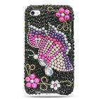 Rainbow Butterfly Full Diamond Pearl Rhinestone Snap on Hard Skin Shell Cover Case for Apple Ipod Touch Itouch 4 4g 4th Gen