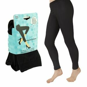 Fleece-Lined-Footless-Tights-Black-Winter-Warm-Thick-Pantyhose-Soft-Choose-Size