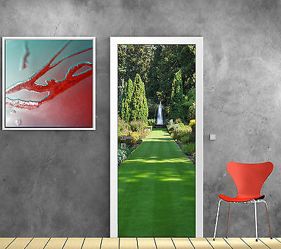 Stickers pour porte trompe l'oeil déco Jardin Fontaine réf 768