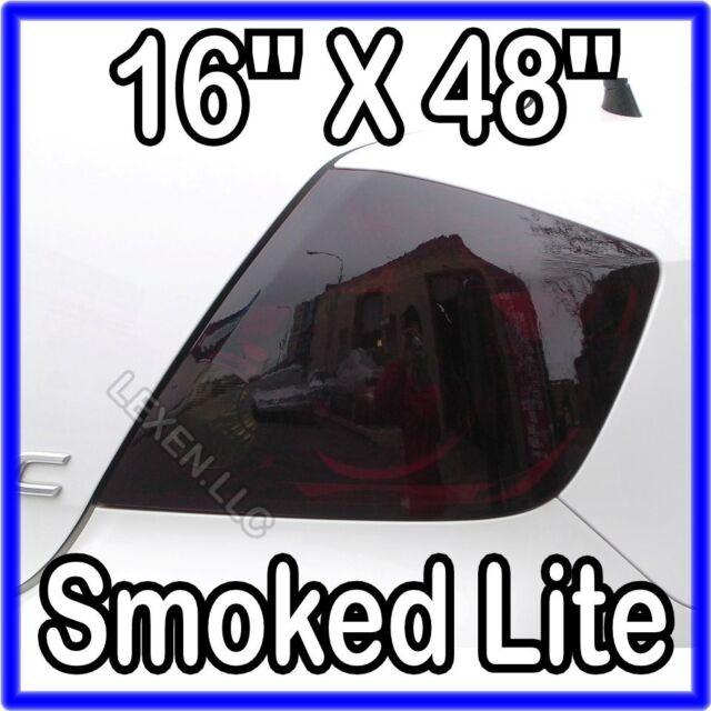 """16"""" X 48"""" DARK SMOKE TAIL LIGHT ORIGINAL PVC FILM COVER SMOKED OVERLAY c"""